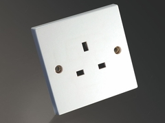 MS HD Power MS-9297S UK single gang wall socket for Audio and A/V Silver