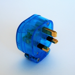 MS HD Power MS328GK 'The Blue' Gold 13A UK mains plug