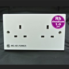 MS HD Power MS-9296Rh UK 2 gang wall socket for Audio and A/V, Rhodium plated.